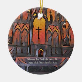 Artistic Sanctuary Cross Inspirational Quote Round Ceramic Ornament