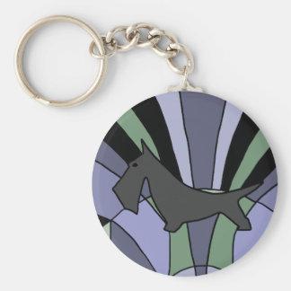 Artistic Scottish Terrier Art Deco Basic Round Button Keychain