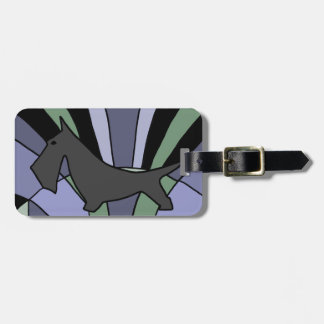 Artistic Scottish Terrier Art Deco Luggage Tag