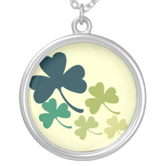 Artistic Shamrocks Silver Plated Necklace