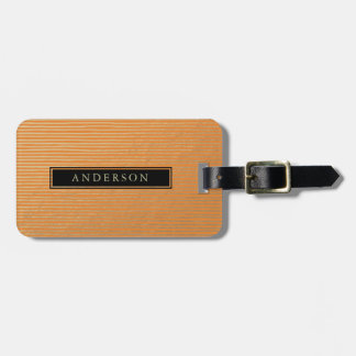 ARTISTIC SILVER  RUST SKETCH STRIPED LINE PATTERN LUGGAGE TAG