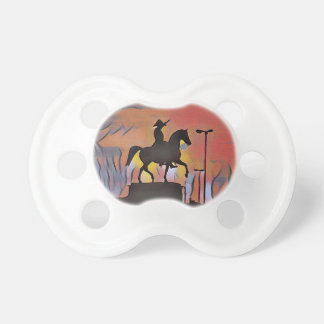 Artistic Soldier On Horse Sillouete Sunset. Pacifier