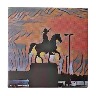 Artistic Soldier On Horse Sillouete Sunset. Tiles