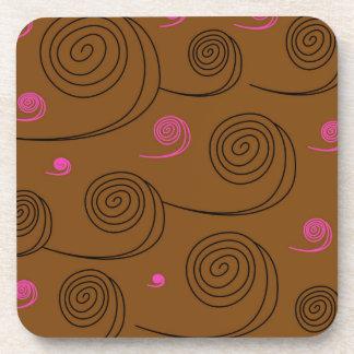 Artistic Spirals black on brown Beverage Coasters