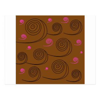 Artistic Spirals black on brown Postcard