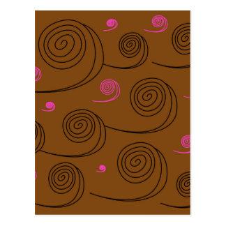 Artistic Spirals black on brown Postcard