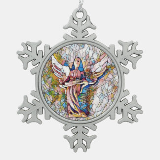 Artistic Stained Glass Angel Pewter Snowflake Ornament