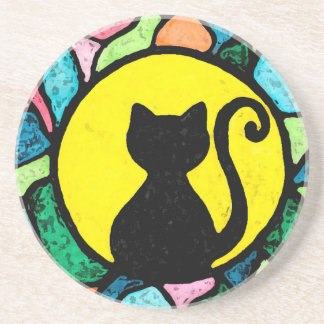 Artistic Stained Glass Cat Sandstone Coaster