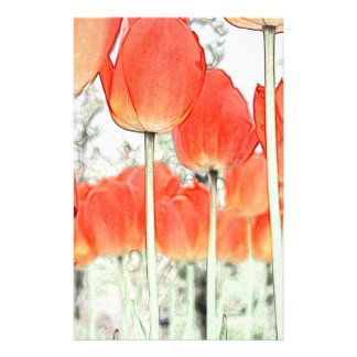 artistic style red tulip flowers. floral garden personalized stationery