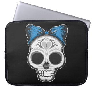 Artistic Sugar Skull (blue bow) Computer Sleeve
