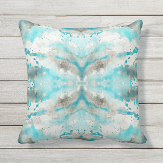 Artistic teal white gray paper watercolor pattern throw pillow