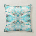 Artistic teal white grey paper watercolor pattern throw pillow