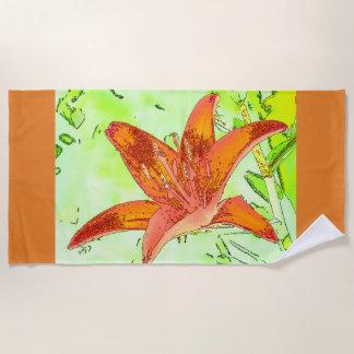 Artistic Tiger Lily Beach Towel