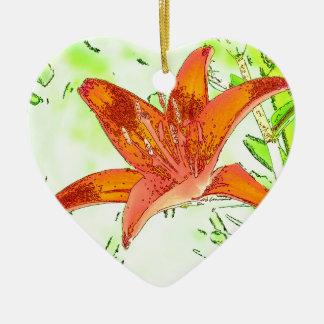 Artistic Tiger Lily Ceramic Ornament