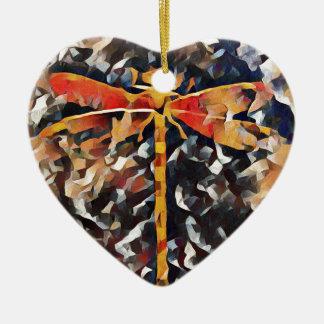 Artistic Warm Fall,Tone Dragonfly Ceramic Ornament