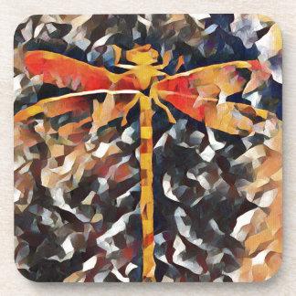 Artistic Warm Fall,Tone Dragonfly Drink Coaster