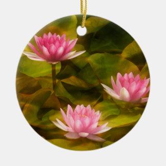 Artistic water lilies, California Ceramic Ornament