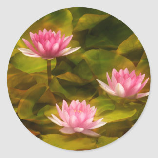Artistic water lilies, California Classic Round Sticker