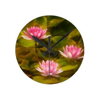 Artistic water lilies, California Round Clock