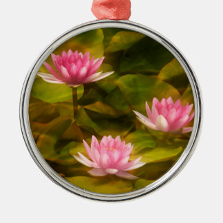 Artistic water lilies, California Silver-Colored Round Ornament