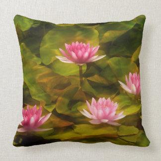 Artistic water lilies, California Throw Pillow