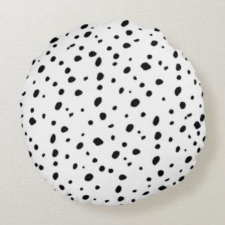 Artistic watercolor black white polka dots pattern round pillow