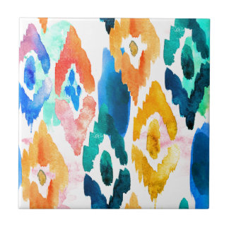 Artistic Watercolor Ikat Pattern on Ceramic Tile