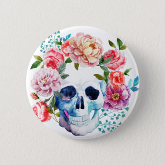 Artistic watercolor skull and flowers 2 inch round button