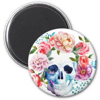 Artistic watercolor skull and flowers 2 inch round magnet