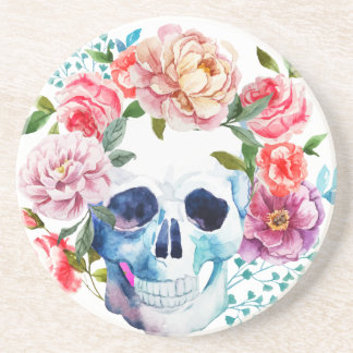 Artistic watercolor skull and flowers beverage coasters
