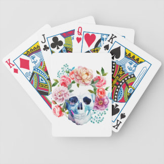 Artistic watercolor skull and flowers bicycle playing cards