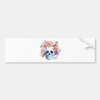 Artistic watercolor skull and flowers bumper sticker