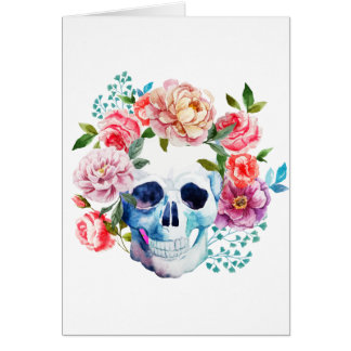 Artistic watercolor skull and flowers card