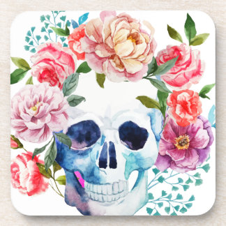 Artistic watercolor skull and flowers coaster