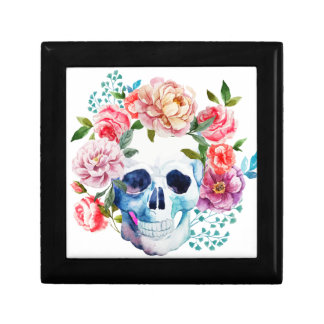 Artistic watercolor skull and flowers gift box