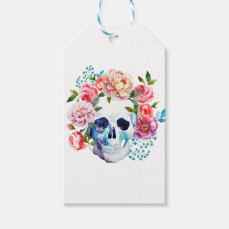 Artistic watercolor skull and flowers gift tags