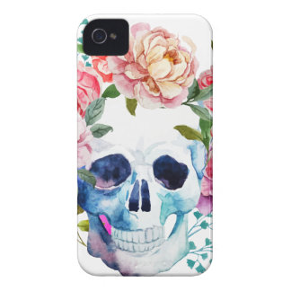 Artistic watercolor skull and flowers iPhone 4 case