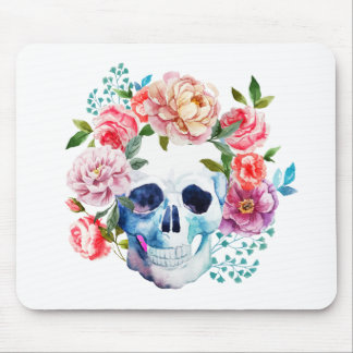 Artistic watercolor skull and flowers mouse pad
