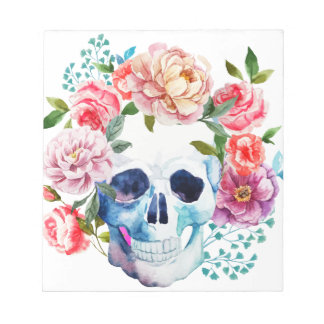 Artistic watercolor skull and flowers notepad