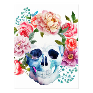 Artistic watercolor skull and flowers postcard