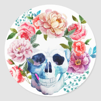 Artistic watercolor skull and flowers round sticker