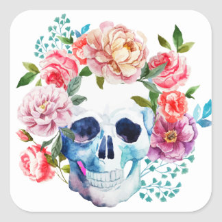 Artistic watercolor skull and flowers square sticker