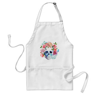 Artistic watercolor skull and flowers standard apron