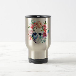 Artistic watercolor skull and flowers travel mug