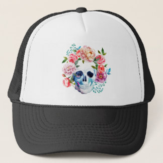 Artistic watercolor skull and flowers trucker hat