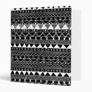 Artistic White black hand drawn aztec pattern Binders