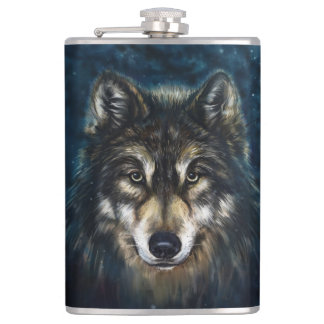 Artistic Wolf Face 8 oz Vinyl Wrapped Flask
