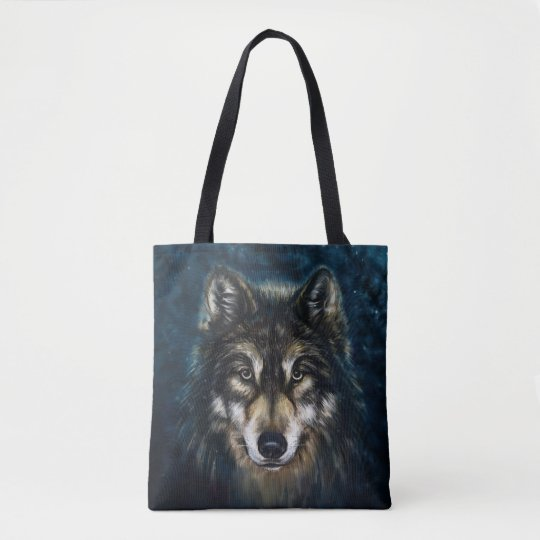 Artistic Wolf Face All-Over-Print Tote Bag
