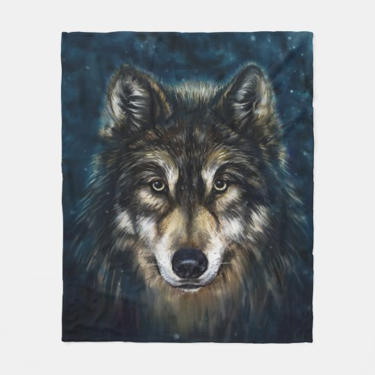 Artistic Wolf Face Fleece Blanket