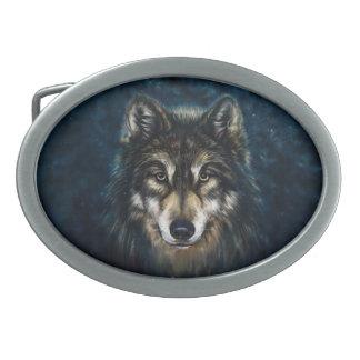 Artistic Wolf Face Oval Belt Buckle